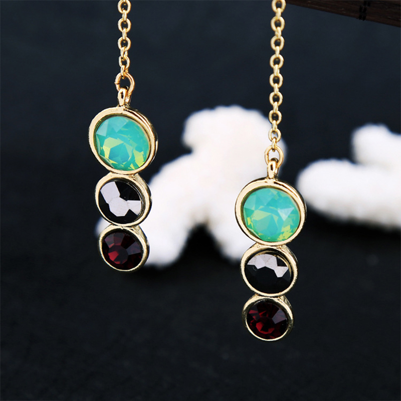 Fashion Simple Green Color Crystal Rhinestone Long Dangle Drop Earrings Gold Chain For Women Jewelry Ear Accessories