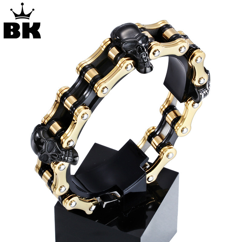 2016 Fashion Stainless Steel Bike Bracelet Man Bold and Chunky Titanium Steel Skull Style High Polished Link Bangle Personality fashion 316l stainless steel man bracelet skull pattern h012