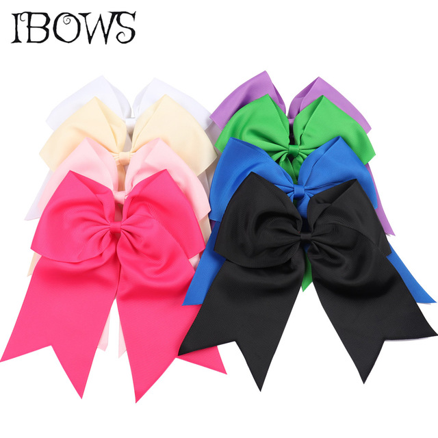 24 Colors 8 Inch Large Ribbon Cheer Bow With Clips Cheerleading Dance Hair Bows Barrette Accessoires