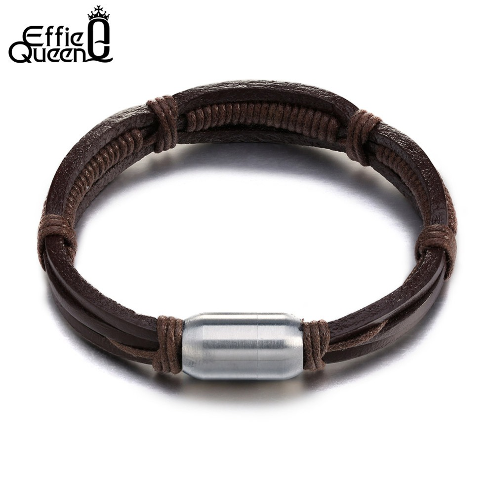 Effie Queen Genuine Leather Bracelets Cuff Rope Chain Charm Women Men  Wristband Cool Casual Fashion Jewelry
