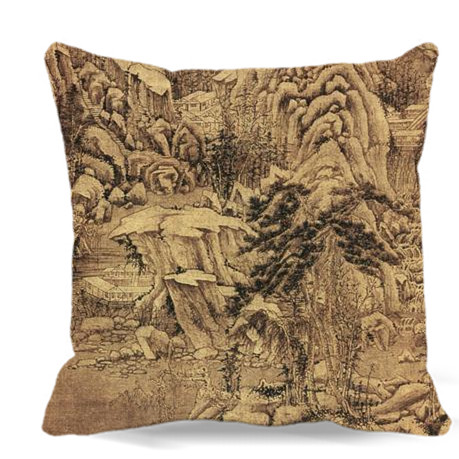 Magnificent mountains and rivers Chinese ink painting Soft Cotton polyester Square Pillow case Chair sofa home car decoration