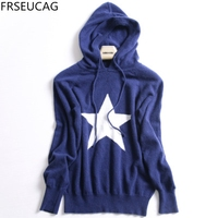 FRSEUCAG Autumn And Winter Five Pointed Star Sweater Women Korean Version Of The Hooded Cashmere Sweater