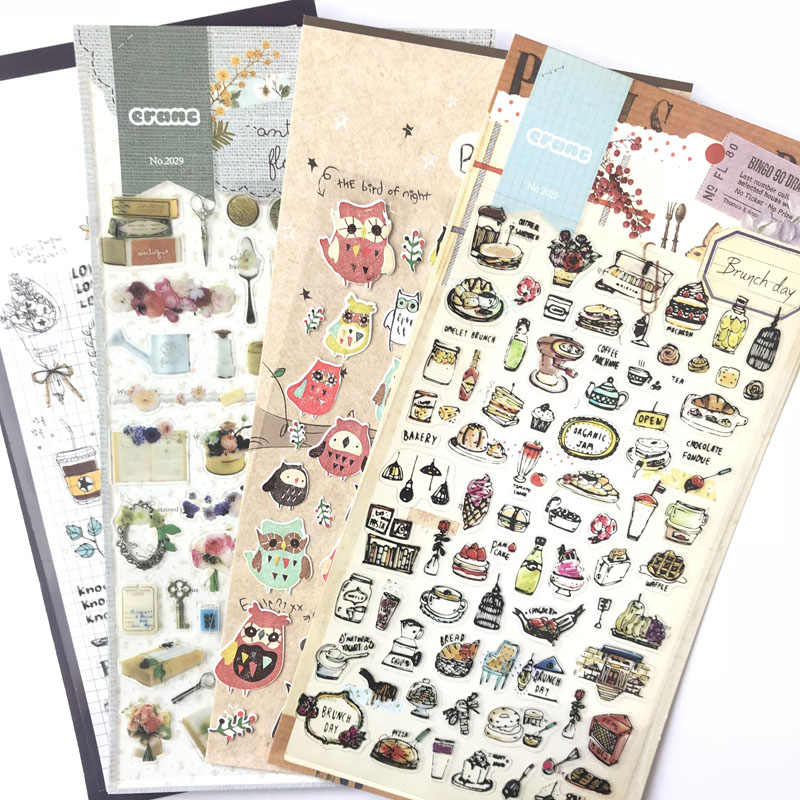 1 Sheet Daily Something Brunch Day OwL Sticker Notebook Diary Phone DIY Decor Stick Label School Supply Student Stationery