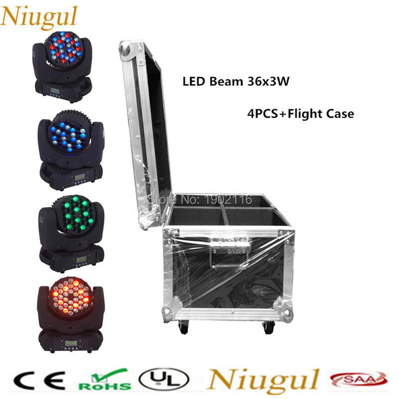 4pcs/lot with flight case for 36x3w RGBW Mini Led Moving Head Beam Wash Spot Light Dj Disco Club Party LED Stage Effect Lighting niugul mini 10w rgbw 4in1 led moving head dmx512 light led beam spot lighting show disco dj laser light christmas party lights