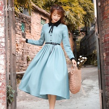 Ubei New women blue dress literary vintage style long sleeve show slim waist pleated
