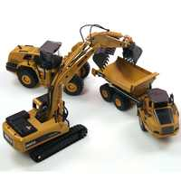 3PCS/set HUINA 1:50 dump truck excavator Wheel Loader Diecast Metal Model Construction Vehicle Toys for Boys Gift Car Collection