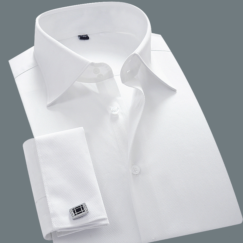 Mens French Cuff Dress Shirts Slim Fit