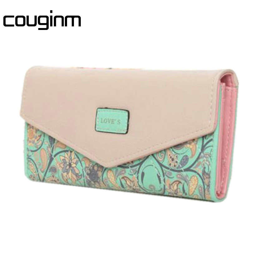 COUGINM New Women Lady Leather Clutch Wallet PU Card Holder Purse Handbag Envelope Bag  new arrive 1pc women lady faux leather clutch envelope wallet long card holder purse hollow hot