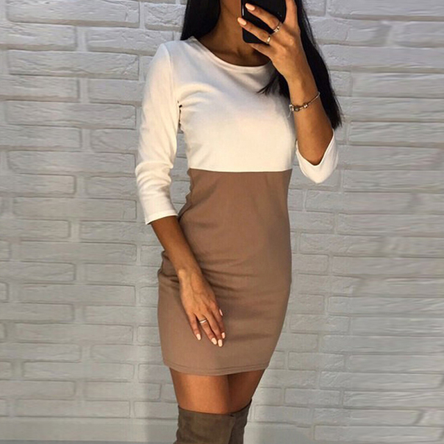 AiiaBestProducts - Autumn Summer Women Office Lady Patchwork Dresses