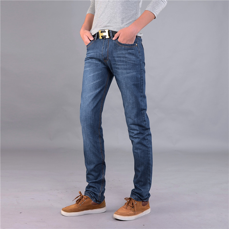 2017 Fashion New Spring Autumn Men Straight Jeans Slim Fit Business Casual Denim Trousers Solid Full Length Jeans / Plus Size 40  new fashion style hot sale autumn winter thick male jeans straight slim looking men full length pants heavyweight solid cozy