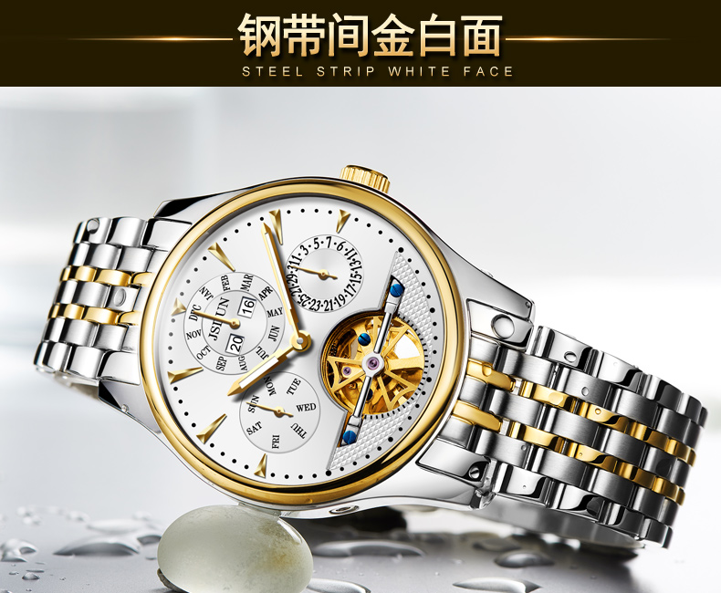 ouro aço inoxidável relógio masculino data luxo automático reloj