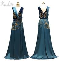 Elegant Beading Sequined Peacock Blue Velvet Satin Women Evening Dress Long 2019 Arabic Dubai Evening Gown Party Dress