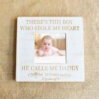 Frame de Retrato personalizado Baby Shower Presente quadro Decoração Do Berçário Do Bebê Para O Pai Frame Gravado