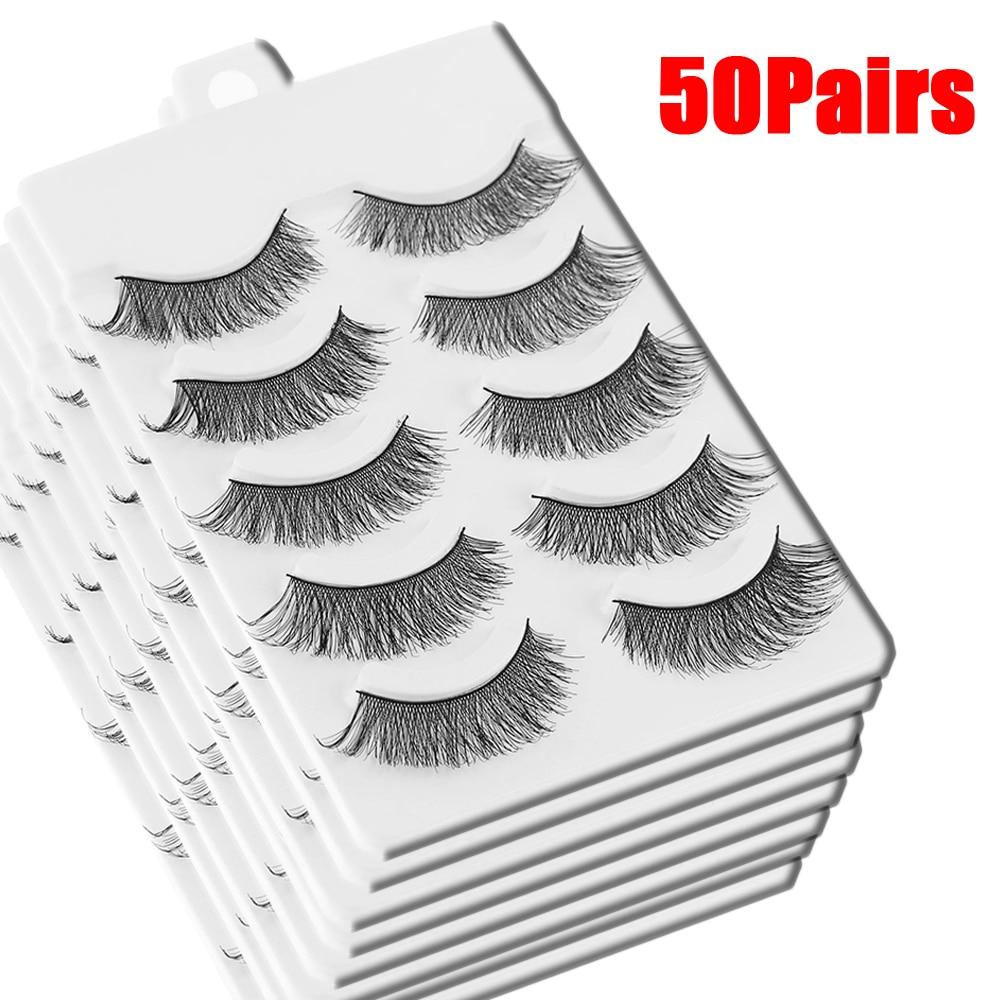 50 Pair/Pack Handmade Natural False Eyelashes Handmade Cross Eye Lashes Fake Lashes Extension Makeup Beauty Tool black false eyelashes for beauty makeup 10 pair