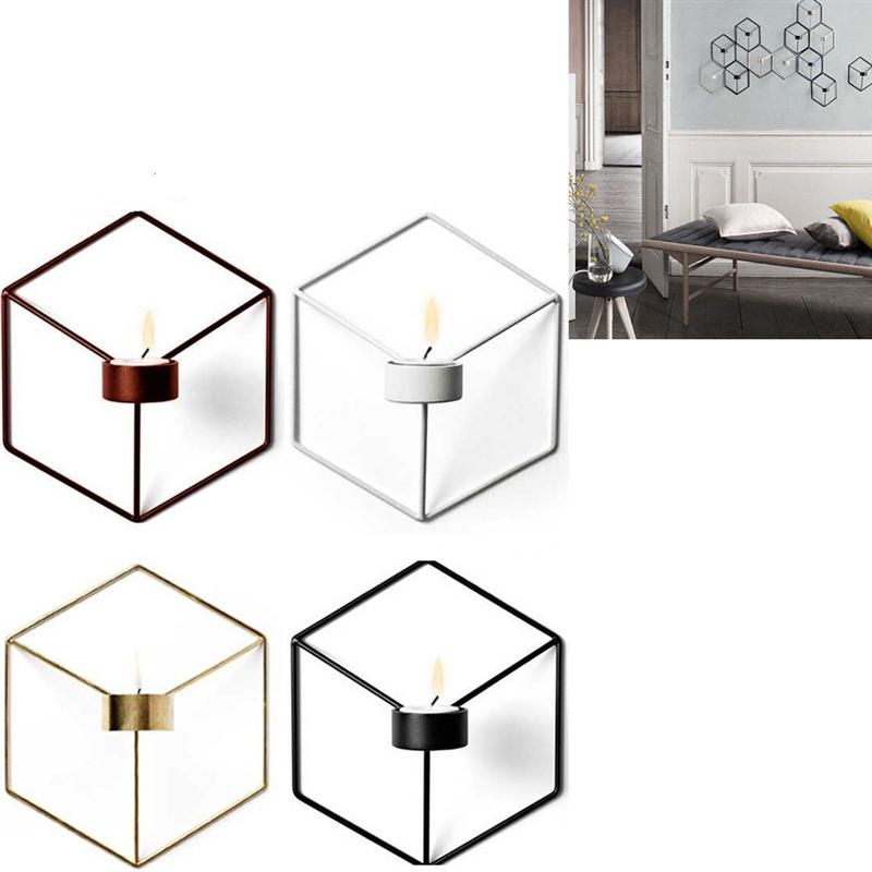 Iron Tea Light Candlestick Metal Wall Candle Holder Sconce Mounted Home Decor