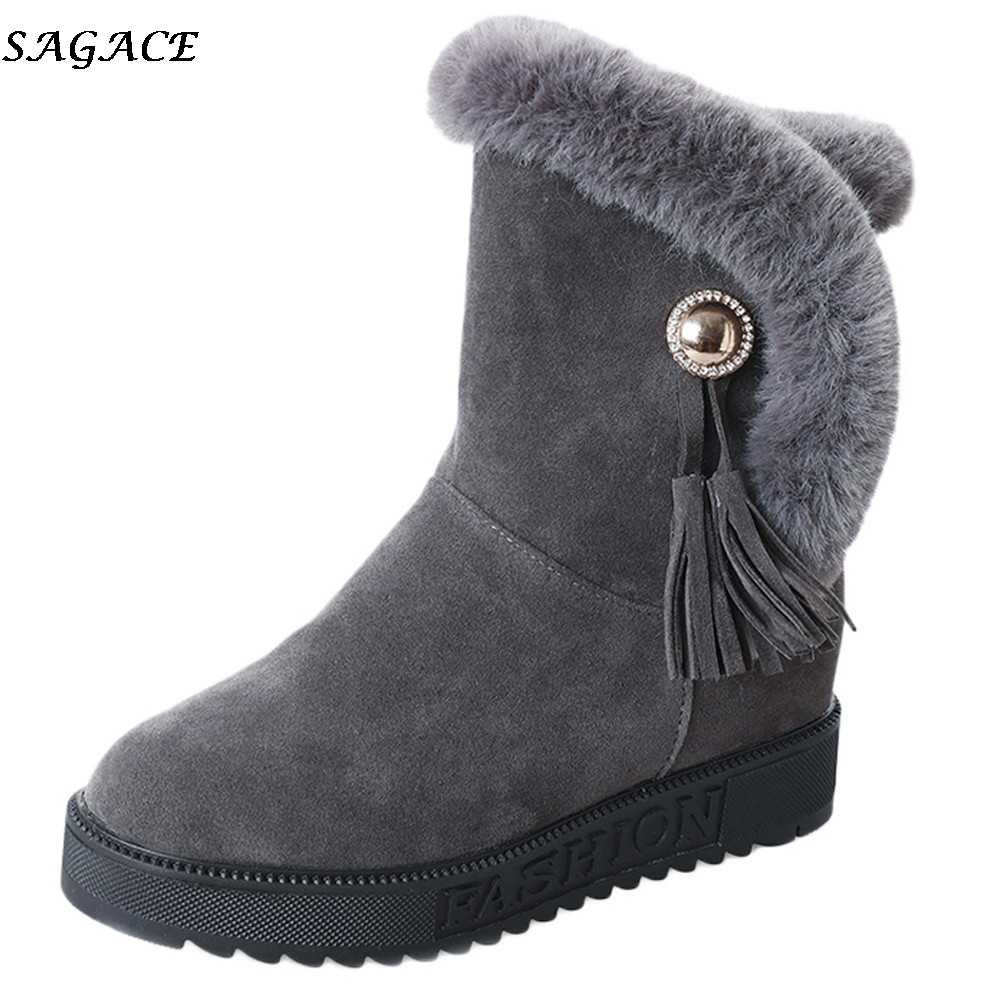 4830213c6bd6 SAGACE 2019 Women Snow Boots Slip-On non-slip waterproof Plush Warm winter  Boot