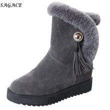 SAGACE 2019 botas de nieve para mujer Slip-On antideslizante impermeable de felpa cálida bota de invierno borla punta redonda plana zapatos mujer botas #35