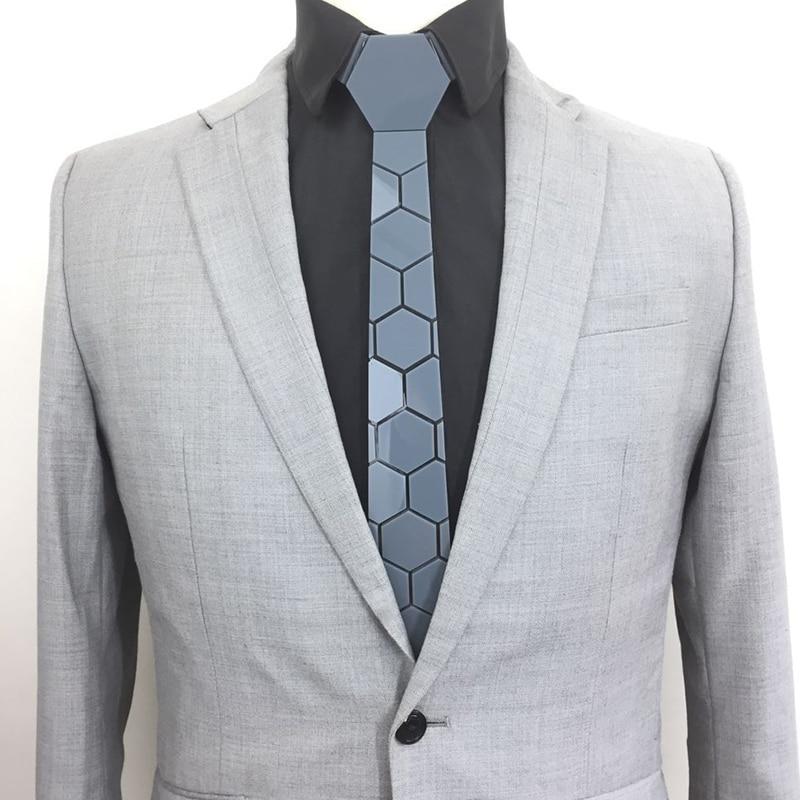 GEOMETIE Classic Hex Design Dark Grey Acrylic Neckties Slim Fit Men Luxury Fashion Glossy Mirror Ties