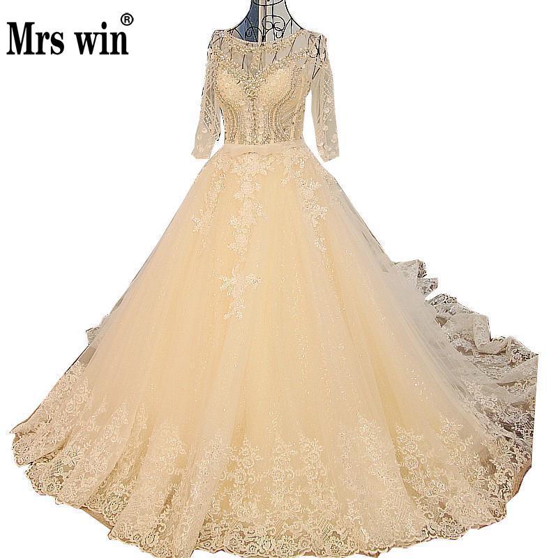 Vestido De Noiva Роскошные вышивки 3/4 рукавом свадебное платье невесты принцесса длинный хвост Кристалл бисероплетение-line свадебное платье customc