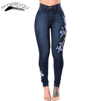 Embroidery Jeans 2017 High Waist Woman Jeans Skinny Plus Size 3XL Winter Denim Jeans Women Clothing