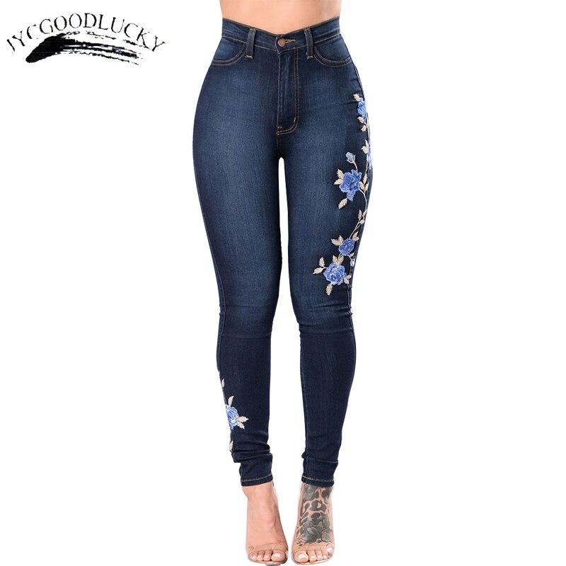 Embroidery Jeans Woman Plus Size 3XL High Waist Jeans Gradient Denim Ladies Jeans Femme Push Up Mom Jeans Flower Pants Elastic