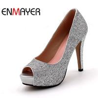 Plus Size 34 43 Women Fashion Pumps High Heels Black Silver Pink Shoes Woman Ladies Platform