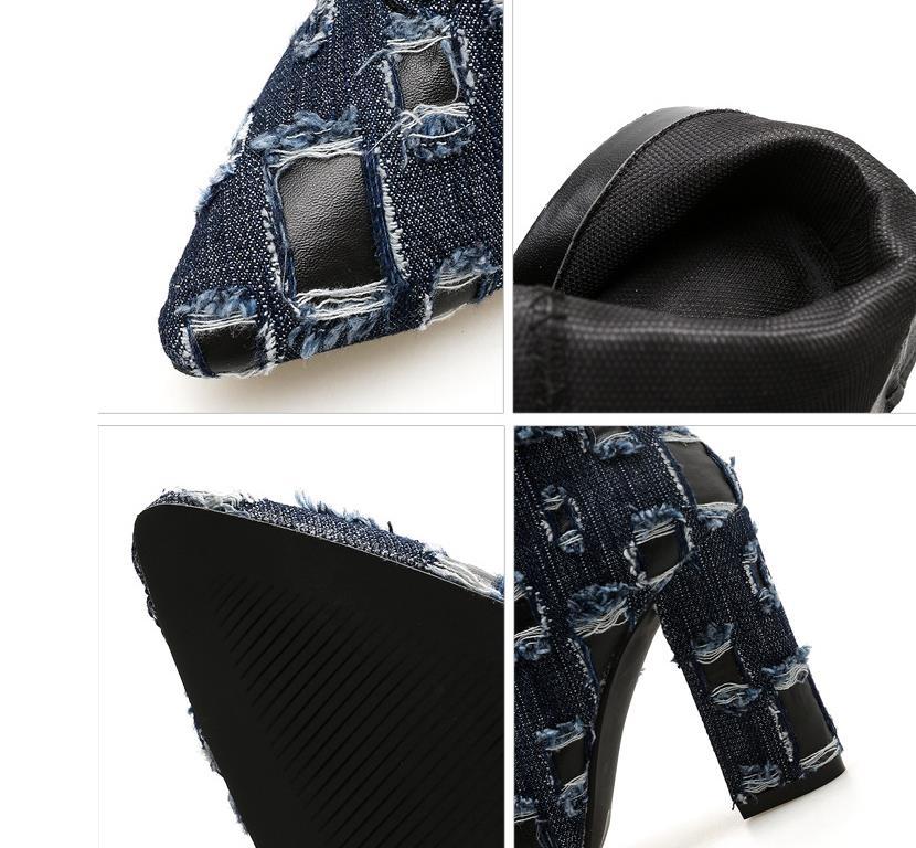 Arranque Negro Con azul De Denim Empalme Tacones Señaló Europea Nueva Y Americana Exterior Cremallera Comercio Gruesa 46OaqAfR