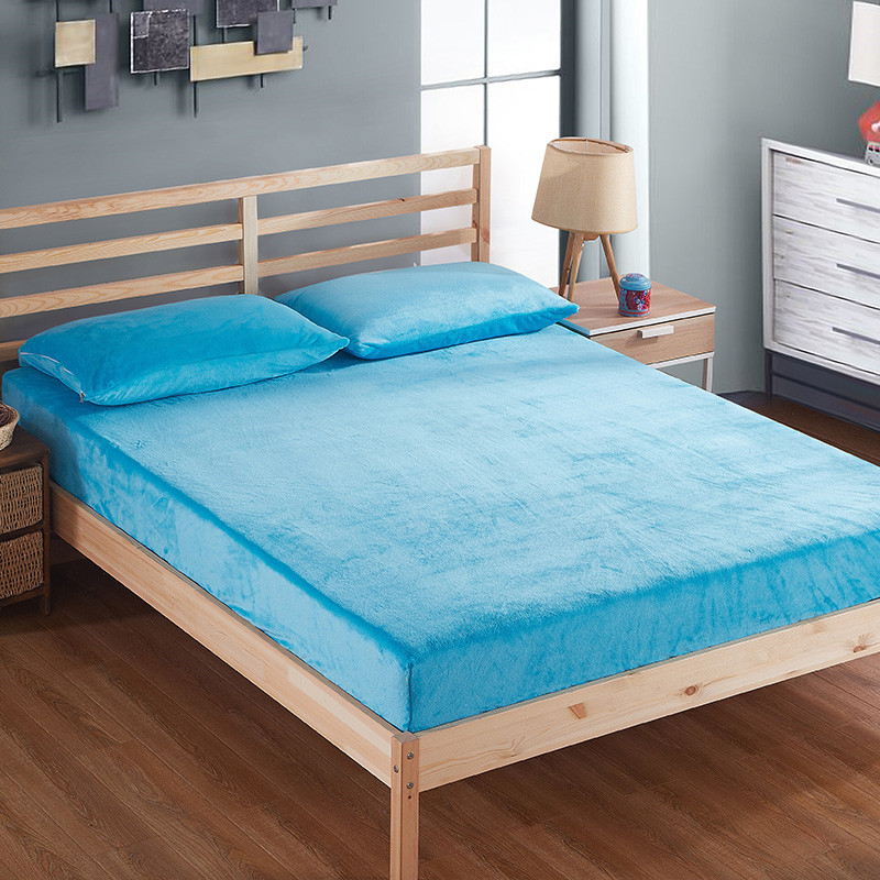 Fashion Blue Solid Color Winter Plus Velvet And Warm Mattress Protector For Box Spring Mattress Cover Bed Cover Fitted Sheet