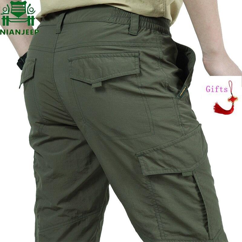 Nianjeep Ultra-dünne Beiläufige Hosen Männer Sommer Armee Military Atmungs Leichte Wasserdichte Taktische Hosen Männer Hosen 4xl Jungen Kleidung