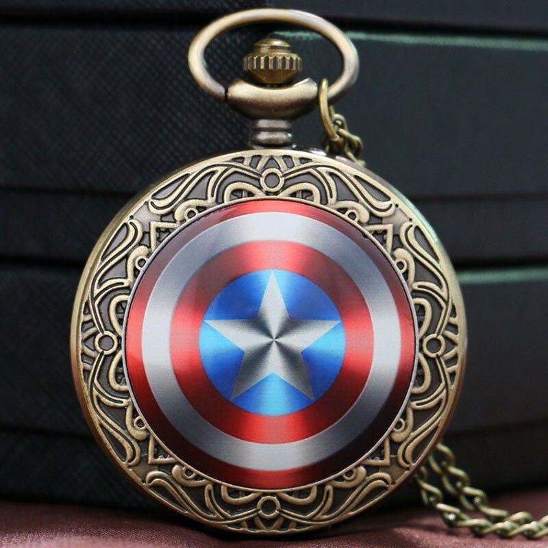 Bronze Vintage Captain America Shield Weapon Steve Rogers Quartz Pocket Watch Women Men Children Necklace Pendant Chain P1435