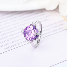 gemstone jewelry wholesale fashionable  square 925 sterling silver natural purple crystal amethyst ring for women