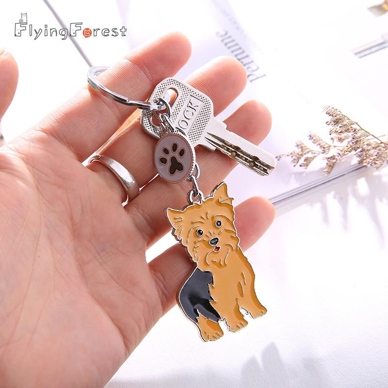 Շներ Metal Key Chain Fashion Accessories PET Key Chain Yorkshire Dog Car Key Ring Keychains Woman Tag Key Chains for Men Gift