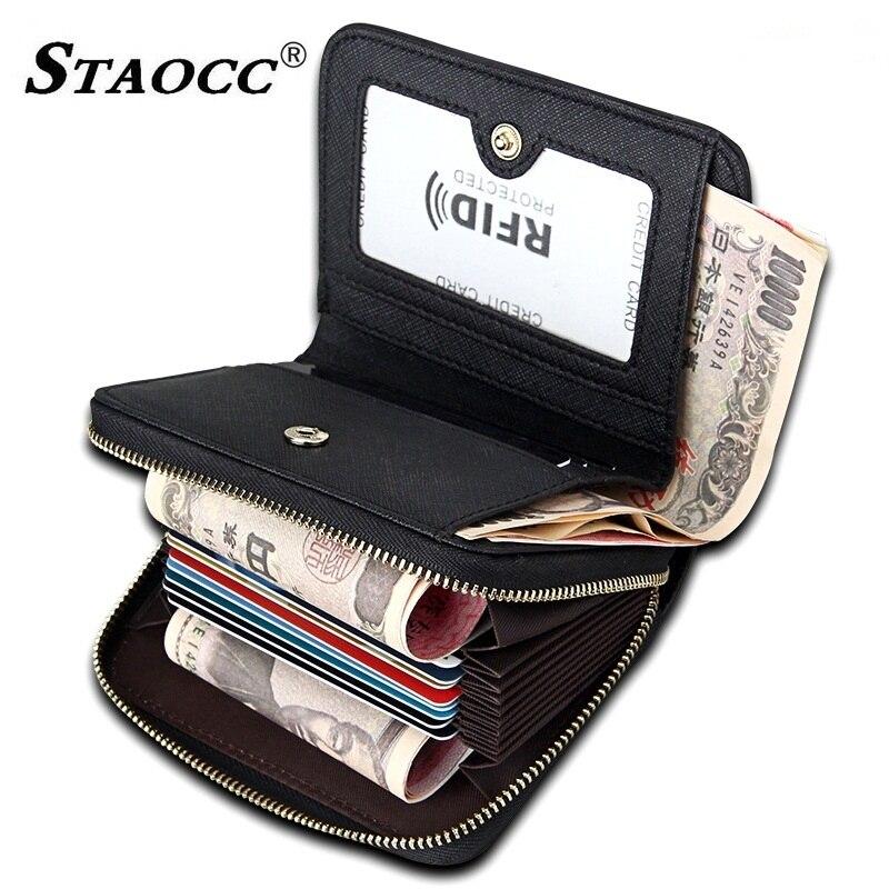 STAOCC Wallet Women Short Card Holder RFID Genuine Leather Wallet Zipper Female Coin Purse Money Bag Fashion Women Wallets Mini