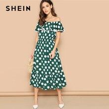 5df3b6a1070 SHEIN Bohème Vert Polka Dot Ruche Ourlet Bardot de L épaule vêtement de  rechange 2019 Printemps Long Streetwear robes élégantes