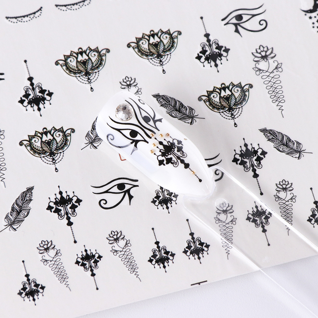 Black Jewelry Water Transfer Nail Stickers Flower Nail Wraps Watermark Adhesive Foil Nail Decorations Manicure Decal SABN973-984