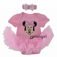 Fashion Girl Dress Short Sleeve Cartoon Minnie Mouse Romper Tutu Dress For Newborn Baby Gifts First