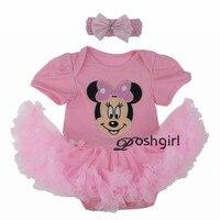 Fashion Girl Dress Short Sleeve Cartoon Minnie Mouse Romper Tutu Dress For Newborn Baby Gifts First