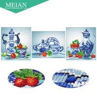Meian Special Shaped Diamond Embroidery Friut China 5D Diamond Painting Cross Stitch 3D Diamond Mosaic Decoration