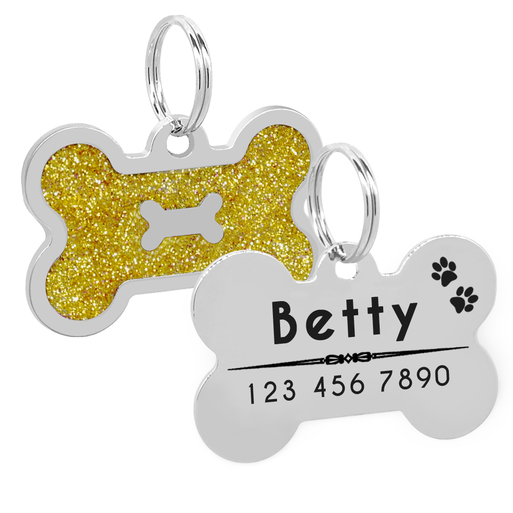 Glitter Personalized Dog ID Tag Customized Bone Shape Name Tag Plate Pet Dog Accessories Collar Decoration Pink Red 4