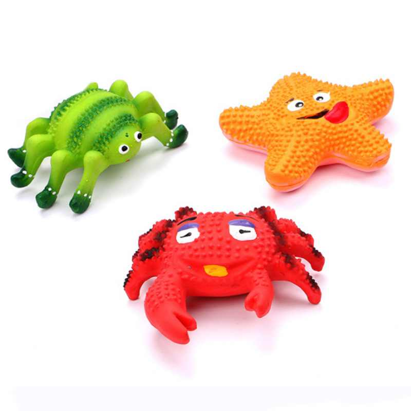 Pet Dog Chew Toy Funny Ocean Crab Squeaky Sound Toys Interactive Games Bone Dog Toys