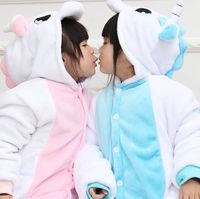 Free Shipping Children Kids Cartoon Animal Onesie Flannel Pajamas Pink Blue Unicorn Cosplay Party Costume All