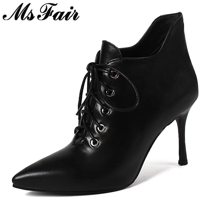 MSFAIR Women Boots Fashion Pointed Toe Thin Heels Ankle Boots Women Shoes High Heel Lace Up Genuine Leather Boot Shoes For Woman шорты giulia шорты модель shorts mini jeans 01
