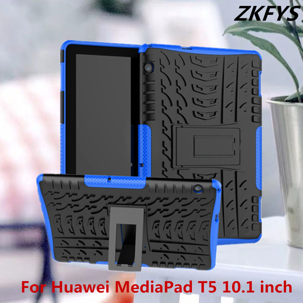ZKFYS Tablet stand cover case For Huawei MediaPad T5 10.1 inch Ultra Slim Hybrid PC+TPU Silicone Armor