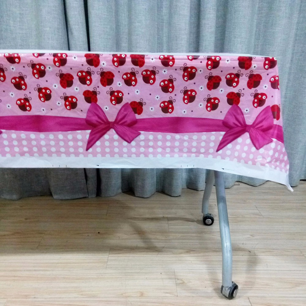 108cm*180cm Ladybug Babyshower Cartoon Theme Party Disposal Table Cloth Birthday Party Decoration Kids Favor Party Supplies Set