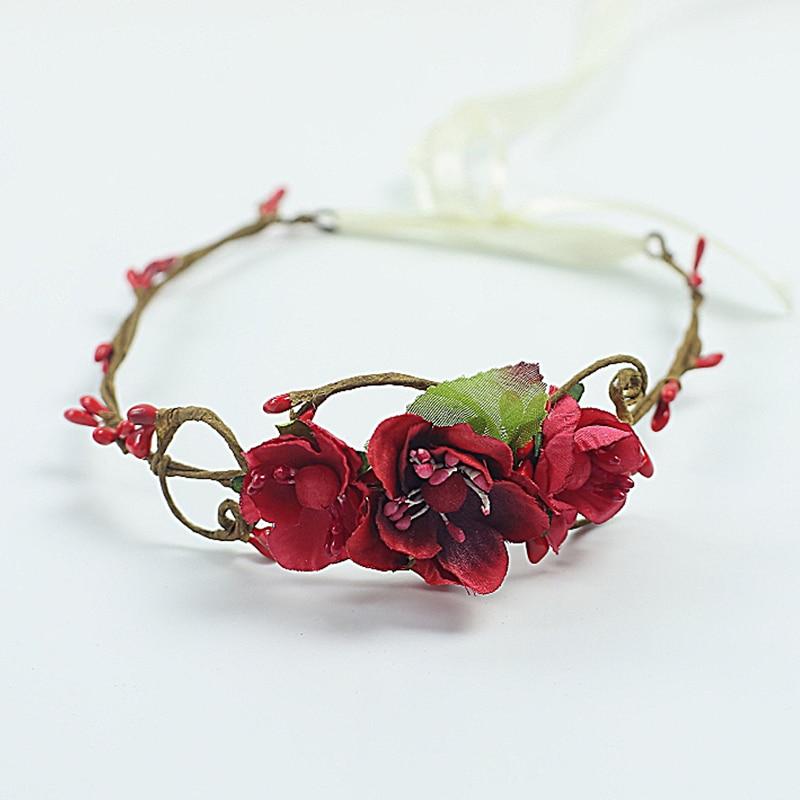 handmade Baby Headband, Newborn Headband, fałszywy kwiat, Baby Girl, - Odzież dla niemowląt - Zdjęcie 5