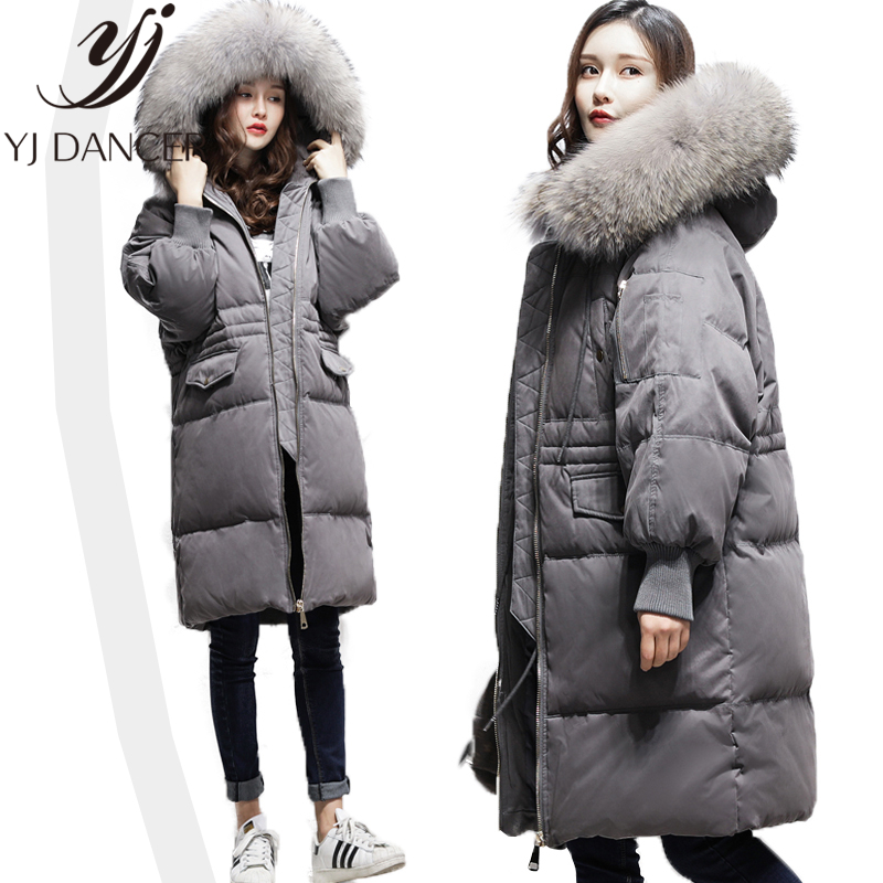 Long   Down   Jacket Winter Warm Parkas 2018 New Women High quality Hooded Big fur collar   Coats   Casual Thicken Warm Female Ljj282