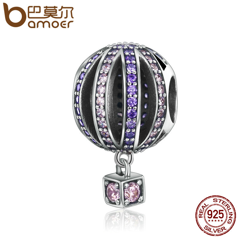 BAMOER alta calidad 925 globo de aire caliente púrpura claro CZ encantos cupieron las pulseras y collares joyería SCC352
