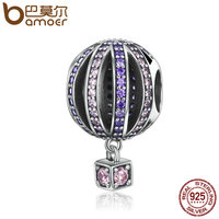 BAMOER High Quality 925 Sterling Silver Hot Air Balloon Purple Clear CZ Charms Beads Fit Bracelets