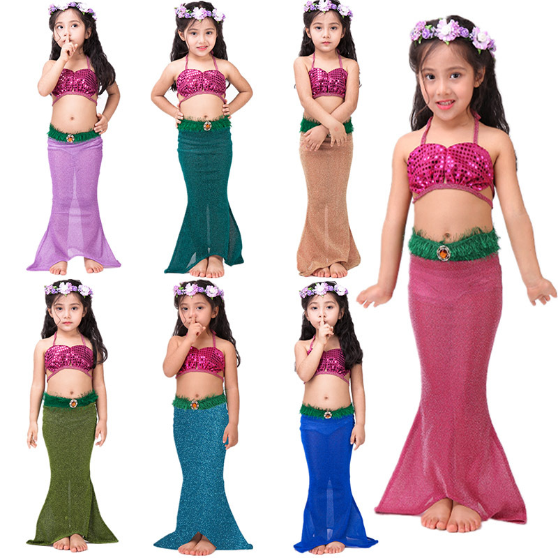 2017 INS HOT Kids Girls Mermaid Tails Costume Dress New design Mermaid swimming Cosplay dress Party Dress Christmas Gifts