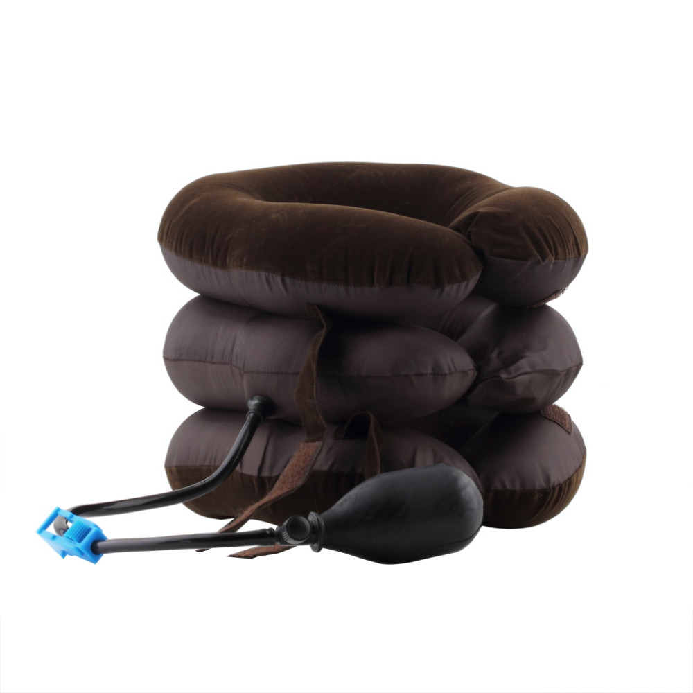 Portable Air Inflatable Cervical Neck Traction Collar Pillow Brace for Head Back Shoulder Pain Reliever Instrument Travel Kit(China)